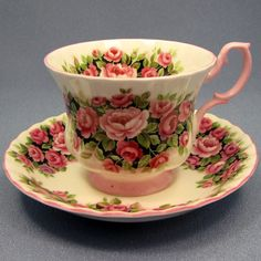 Elegant ROYAL ALBERT Rosa Tea Cup and Saucer Set by Thinkilikeit