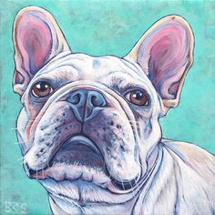 """8"""" x 8"""" Custom Pet Portrait Painting in Acrylics on Ready to Hang Canvas of One Dog, Cat, or Animal Original Artwork French Bulldog Example, $100.00"""