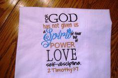 Scripture flour sack towel kitchen towel  For God has by jessiemae