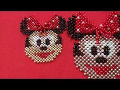 Minnie mouse com laços sobrepostos para tiara, chaveiro e chinelo vídeo (2) - YouTube Bead Embroidery Patterns, Bead Loom Patterns, Beaded Embroidery, Beading Patterns, Beaded Purses, Beaded Bags, Blackwork Cross Stitch, Perler Bead Disney, Diy Bracelets Easy