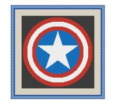 Cross stitch pattern Captain American ShieldInstant by XStitchLogo