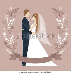 Wedding day. Bride and groom looking at each other and hugging. Wedding couple. Romantic vintage background. Flower wreath and ribbon with place for text. Greeting card. Vector illustration.