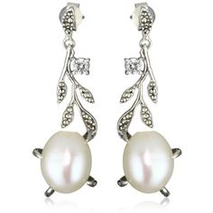 Judith Jack Marcasite and Freshwater Pearl Drop Earrings