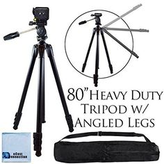 Introducing 80 Inch Elite Series Professional Heavy Duty w Angled Legs Action Camera Tripod For Canon SL1 EOSM 5D 5D MARK II 5D MARK III  More  Microfiber Cloth. Great Product and follow us to get more updates!