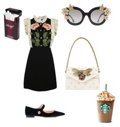"""L"" by miumiudeleeuw on Polyvore featuring Gucci, Rochas and Alice + Olivia"