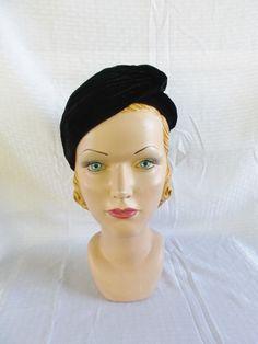 1930s Vintage Black Velvet Evening Turban Hat by MyVintageHatShop