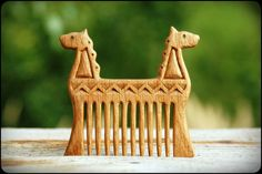 Wooden hair comb Dragons by WonderfulSun on Etsy