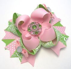 Pink And Green Hair Bow  Dressy Boutique by JustinesBoutiqueBows