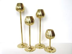Set of 4 Mid Century Modern Brass Tulip Candlestick Holders by HerVintageCrush on Etsy
