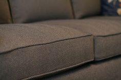 Custom Slipcovers by Shelley: Navy/Tan Herringbone Couch Slipcover