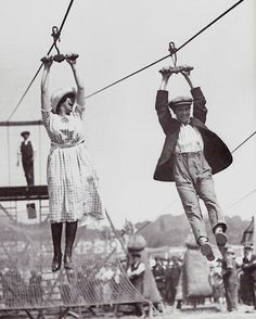1920s zip-line  They still had this at the fair when I was a child!  You had to be 13 to do it.  :)