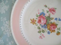 vintage 12 pc pink floral dish place setting by TheHumbleCottage