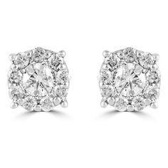 Effy Jewelry Effy Bouquet 14K White Gold Diamond Cluster Stud... ($1,500) ❤ liked on Polyvore featuring jewelry, earrings, diamond cluster earrings, white gold jewellery, stud earring set, 14k jewelry and 14 karat gold earrings
