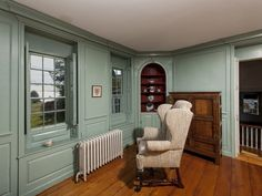 paneling, windows, corner unit… from Daryl Hall's <1740s era maine house