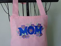 Apron  Full  Pink with Embroidered MOM  by MariesClassicHome