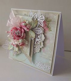 Made with Anna Griffin Card supplies from HSN Shabby Chic Karten, Shabby Chic Cards, Pretty Cards, Cute Cards, Tarjetas Stampin Up, Anna Griffin Cards, Ideias Diy, Heartfelt Creations, Paper Cards