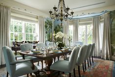 Beach Style Dining Room in Palm Beach, FL by Kemble Interiors, Inc.