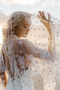 These unique non-traditional wedding veils are perfect for a custom detail for fashionable brides on their wedding day! To add a vintage, minimal, or chic detail a veil is the perfect option. Source by MarthaWeddings fashion idea Star Wedding, Dream Wedding, Wedding Day, Wedding Photos, Fantasy Wedding, Wedding Attire, Spring Wedding, Wedding Theme Inspiration, Celestial Wedding