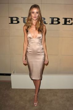 The 17 best nude outfits and monochromatic neutrals worn by celebrities: Rosie Huntington-Whitely in a nude slip dress