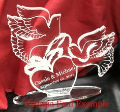 Dove Wedding Theme Cake Topper, Heart and Doves Themed