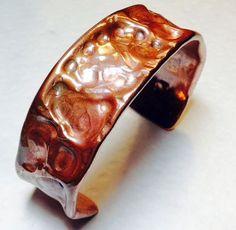 textured copper tubing cuff