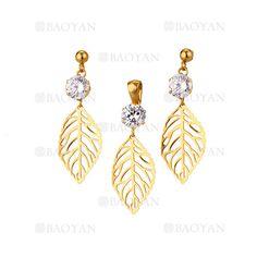juego dije y pendientes de hoja arbol dorado con cristal en acero inoxidable -SSSTG1033873