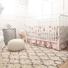 This timeless crib is a big nursery favorite over at the #PNShop! And can we just say, how sweet is this nursery!? Thank you @ashwoodshome  Click link in profile to shop crib and see all available