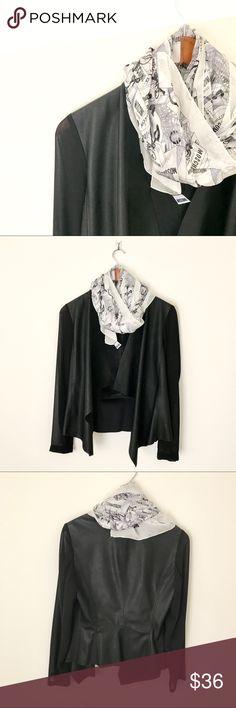 Zara Basic Drape Blazer * Faux leather front drape jacket with mesh sleeves * Super trendy mix fabric jacket * New, no tag (never worn, never washed, just tried out) * Last 3photos: Zara Zara Jackets & Coats Blazers