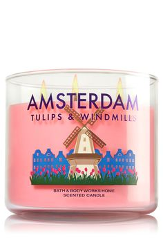 Amsterdam Tulips & Windmills Candle - Home Fragrance 1037181 - Bath & Body Works Home Candles, 3 Wick Candles, Scented Candles, Bath N Body Works, Bath And Body, Best Home Fragrance, Fragrant Candles, Candle Store, Home Scents