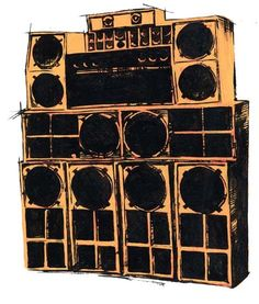 Sound System Print -  I was looking for some shots of old skool Reggae/Dub Sound systems, but I came across this print, which I really liked, as its roughness in drawing and execution, underpinned the, often, homemade, roughness of the construction and rigging ....K