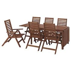 Beauty that lasts, from sustainably sourced acacia. This ÄPPLARÖ dining set invites guests to gather for a meal with friends – and it's easy to extend the table for parties or extra guests. Chair Pads, Chair Cushions, Table Furniture, Outdoor Furniture Sets, Wooden Furniture, Teak, Paper Industry, Wood Supply, Table Extensible