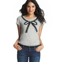 Jeweled Bow Necklace Tee