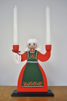 This is a traditional Swedish hand carved and painted folk art candle holder of a Christmas girl with red dress and lingonberries on her apron. Made in Sweden. Swedish Christmas, Old World Christmas, Old Fashioned Christmas, Scandinavian Christmas, Christmas Love, Christmas Images, Christmas Crafts, Christmas Decorations, Christmas Ornaments