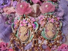 Pastel Pink & Green Cameo Chandelier Earrings http://www.etsy.com/listing/183959718/pastel-pink-and-green-cameo-chandelier