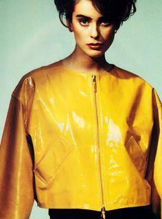 Guzman for Harper's Bazaar, March 1991. Jacket by Isaac Mizrahi.