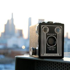 Kodak Brownie camera. I never had one but I remember my grandfather taking pictures (in black and white, folks) with one.