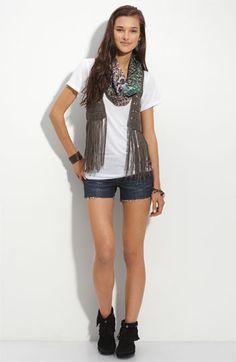 WallpapHer Fringe Vest  Vigoss Shorts with Lulu Scarf