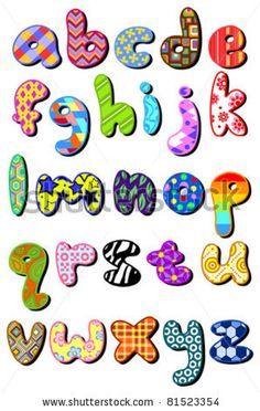 Colorful Patterned Lower Case Alphabet Set