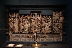 English alabaster altarpiece. Kirkjubaer church, Southeast Iceland. 15th century.