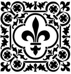 Fleur De Lis Square Mylar Durable Reuseable Stencil - 6 X