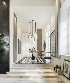 Open Plan in London by Kelly Hoppen Interiors on Foyer Design, Home Room Design, Home Interior Design, Interior Styling, Living Room Designs, House Design, Kelly Hoppen Interiors, Luxury Home Decor, Luxury Homes