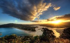 Pauanui at Sunset, taken from Paku? Hill... Climbed it, been there, done that…