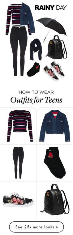 """Rainy Day Outfit"" by alissanatasha on Polyvore featuring Gucci, Vans, Twin-Set, Alexander McQueen and Faliero Sarti"