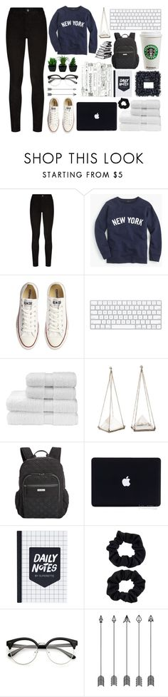 """""""college student"""" by a-hidden-secret ❤ liked on Polyvore featuring Paige Denim, J.Crew, Converse, Christy, Unearthen, Vera Bradley and Accessorize"""