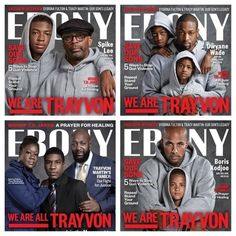 #WhitePeopleBoycottingEBONY Blows Up On Twitter After Magazine's Trayvon Martin-Inspired Covers... Ebony magazine unveiled its new September covers, featuring celebrities wearing hoodies, in an attempt to continue the conversation on gun violence, the stand your ground laws and saving young black men from violence.
