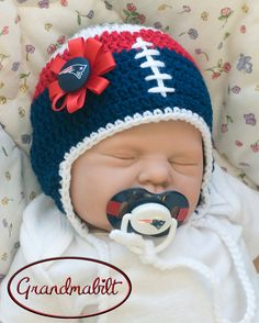 Items similar to BABY GIRL HOCKEY Hat Navy Blue Red White 51f3dc946