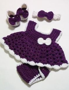 Crochet Purple Baby Girl Dress Set with Diaper Cover, Headband and Ballerina Booties Newborn Baby Shower Gift  READY TO SHIP by theshimmeringrose