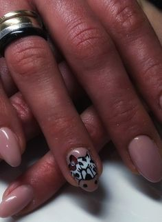Cow manicure red red bow nude