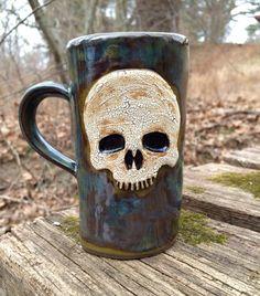 Ceramic Skull Mug in Green by KJBUCK on Etsy https://www.etsy.com/listing/197029295/ceramic-skull-mug-in-green