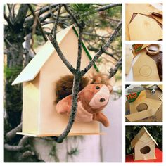 Squirrel House from a box of oranges - mama recicla